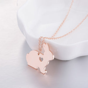 Rose Gold Coloured Bunny Rabbit Heart Necklace
