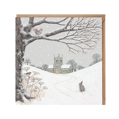 Sally Swannel Church In The Snow Rabbit Christmas Card pack