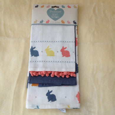 Set of 3 Bunny RabbitTeatowels