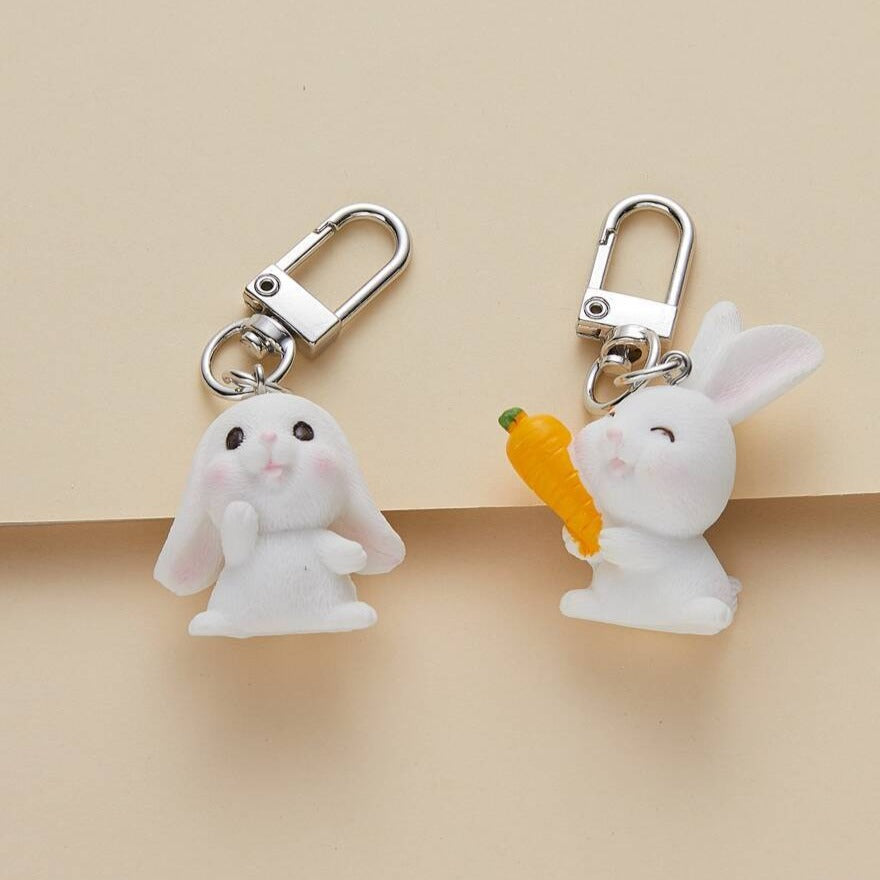 Cute Set of 2 White Bunny Rabbit Key/bag charms