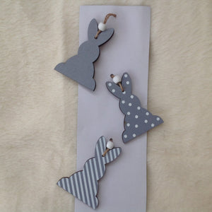 Set Of 3 Grey Bunny Rabbit Hanging Decorations