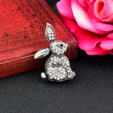 Pretty Rhinestone Sparkly Bunny Brooch/Pin - 2 Colours