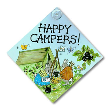 Happy Campers & Retired Rabbit Car/Window Sign - 2 designs