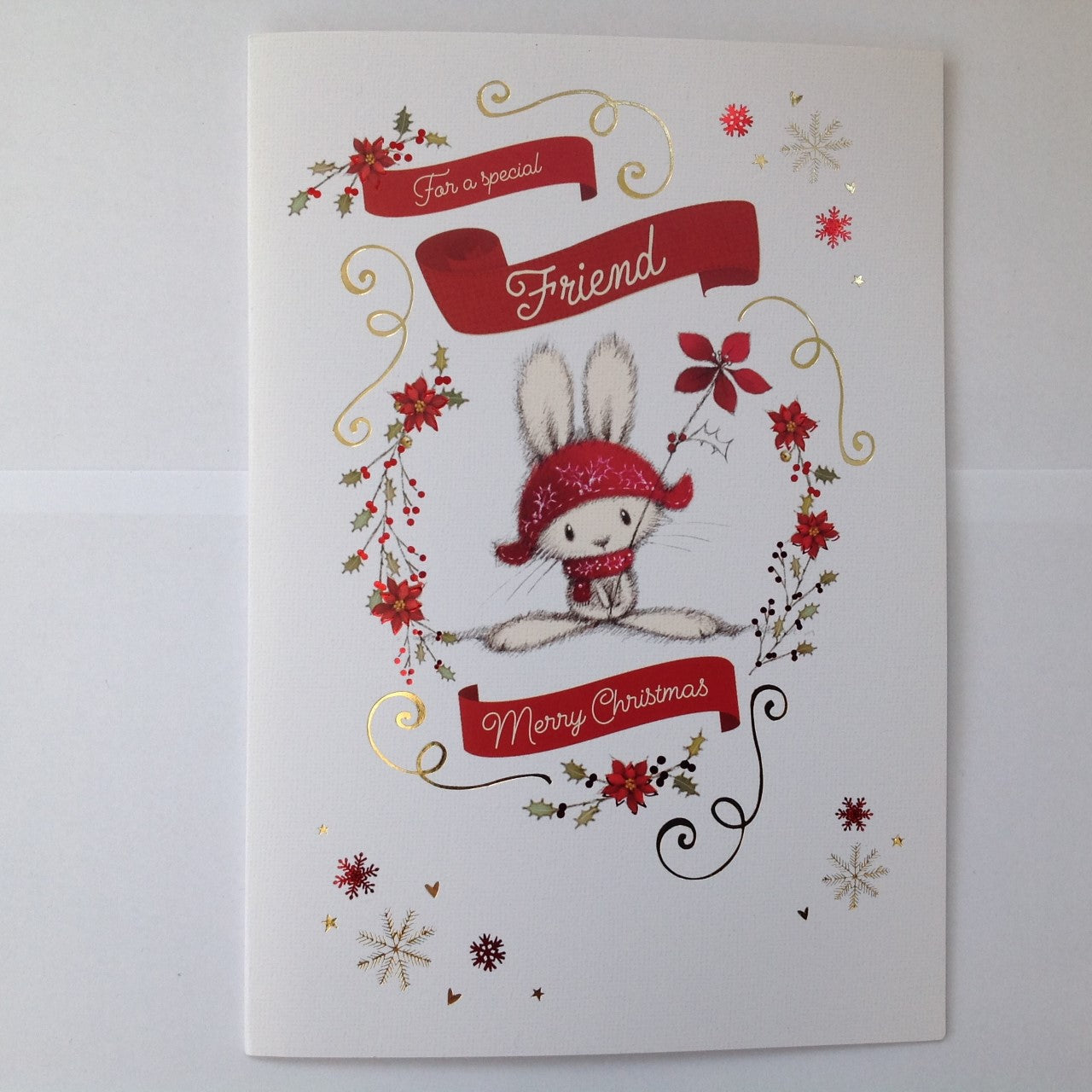 Special Friend Adorable Rabbit Christmas Card