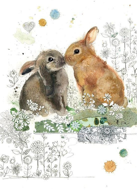 Bugart Kissing Rabbits Card