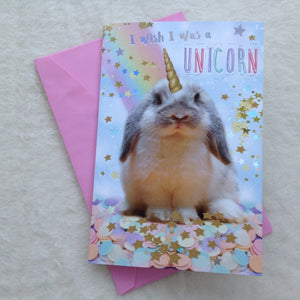 Large Birthday Bunny Unicorn Card
