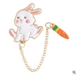 White Bunny & Carrot Brooch/Pin
