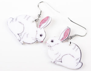 White Acrylic Bunny Earrings