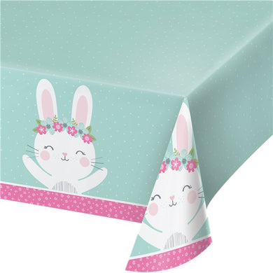 White Bunny Wipe Clean Table cloth