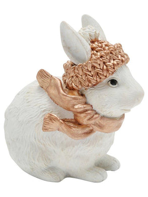 Gold & White Bunny Christmas Ornament