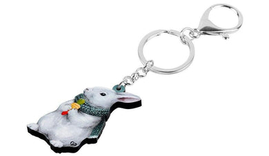 Winter Bunny Rabbit Acrylic Keyring