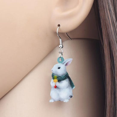 Winter Bunny Rabbit Acrylic Earrings
