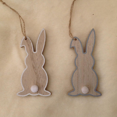 Hanging Wooden Bunny Rabbit Decoration