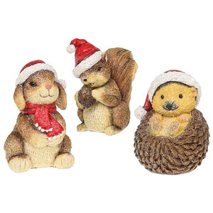 Woodland Animals Christmas Figures Set