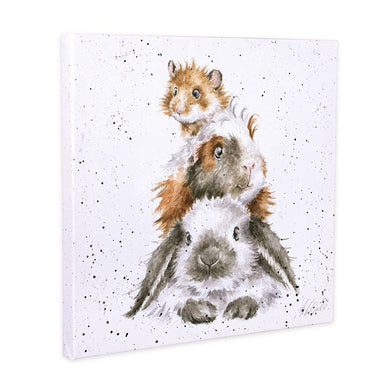 Wrendale Designs Piggy In The Middle Rabbit & Guinea Pig Canvas Art