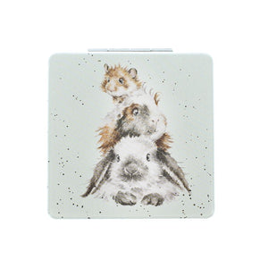 Wrendale Designs Piggy In The Middle Rabbit Vegan Compact Mirror