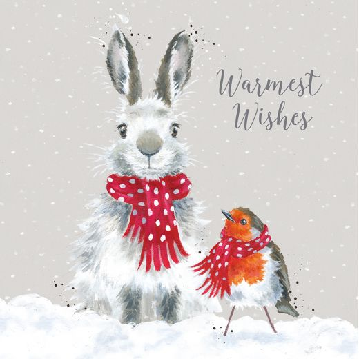 Wrendale Designs Snow Angels Bunny & Robin Christmas Card pack