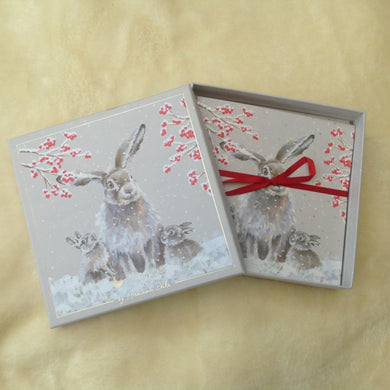 Wrendale Designs Bunny Rabbit Family Christmas Card pack