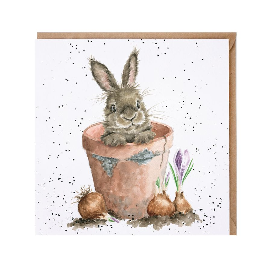 Wrendale Designs The Flower Pot Bunny Rabbit Card