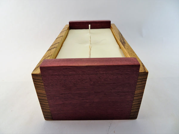 Three Wick Purpleheart and Zebrawood Candle