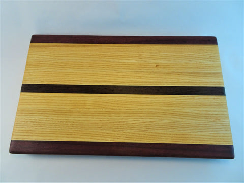 Medium Wenge/Ash/Purpleheart cutting board