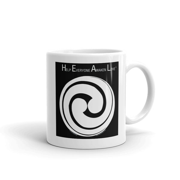 H.E.A.L. - Help Everyone Awaken Love...... - Swirling circle - white on black