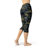 Womens Bird of Paradise Black Capri Leggings