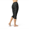 Womens Black Leopard Spots Capri Leggings