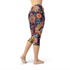 Womens Ornamental Blue Paisley Capri Leggings