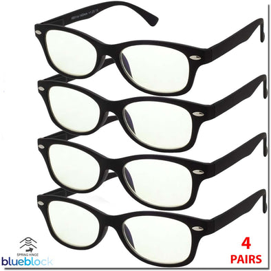 4 PACK BLUE BLOCK READING GLASSES