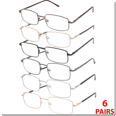 6 PAIRS METAL FRAME SPRING HINGE READING GLASSES