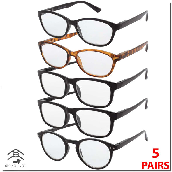 5 PACK ASSORTED READING GLASSES