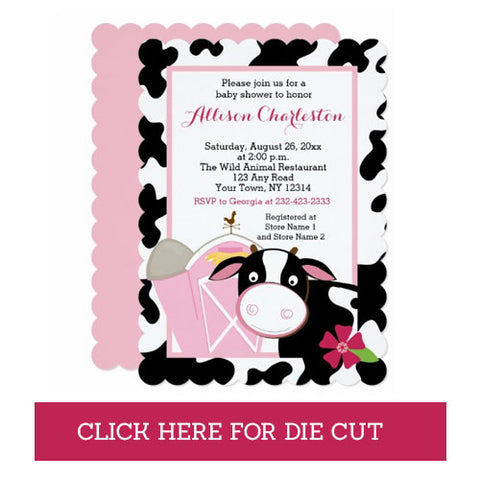 Pink Cow Farm Baby Girl Baby Shower Invitations, Die Cut