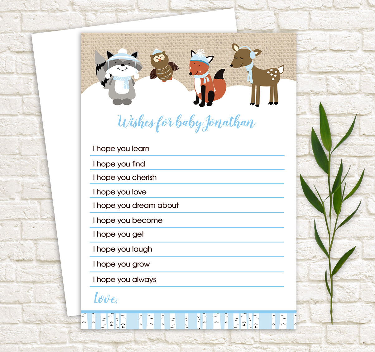 Winter Woodland Wishes for Baby Advice Cards