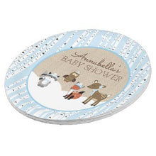 Load image into Gallery viewer, Winter Woodland Animals Blue Paper Plate