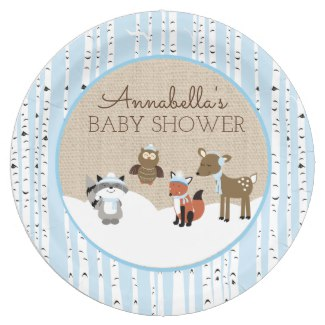 Winter Woodland Animals Blue Paper Plate