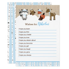 Load image into Gallery viewer, Winter Woodland Wishes for Baby Boy Baby Shower Advice Cards
