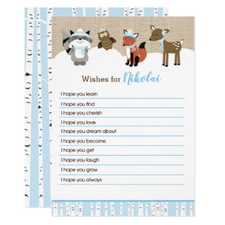 Winter Woodland Wishes for Baby Boy Baby Shower Advice Cards / Winter Baby Shower / Woodland Animals