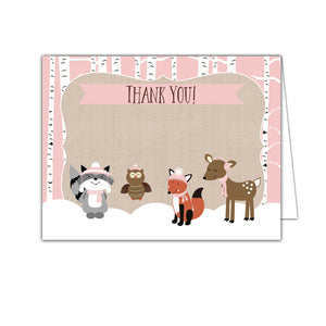 Winter Woodland Pink Forest Animal Folded Thank You Note Cards - Art by Jess