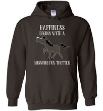 Load image into Gallery viewer, Happiness Begins with a Missouri Fox Trotter Horse Equestrian Hoodie