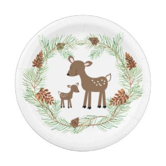 Woodland Deer Pinecone Wreath Paper Plate