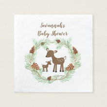 Load image into Gallery viewer, Woodland Deer Customized Cocktail Napkin