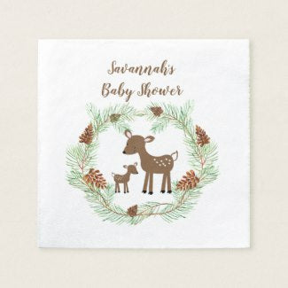 Woodland Deer Customized Cocktail Napkin