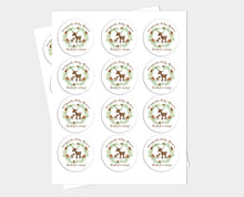 Load image into Gallery viewer, Woodland Deer Round Sticker Baby Shower Favors