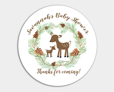Woodland Deer Round Sticker Baby Shower Favors