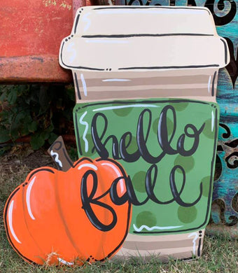Pumpkin Latte Fall Wood Doorhanger Cutout