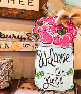 Mason Jar with Flower Top Door Hanger