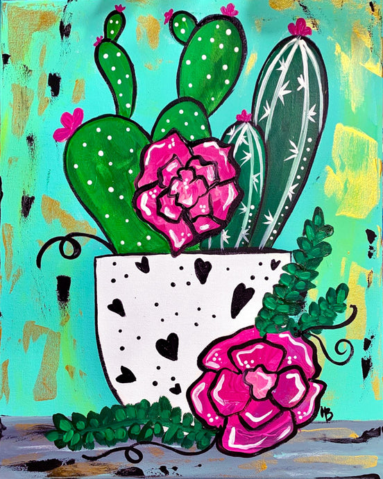 Spring Cactus Painting