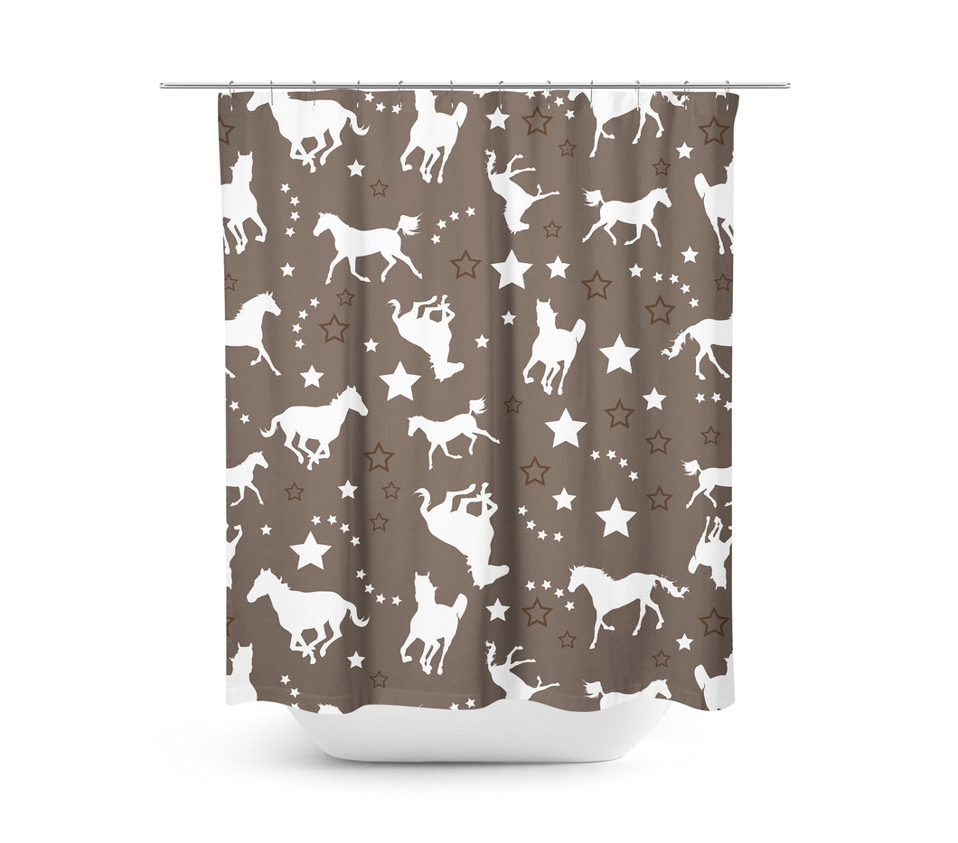 Horse and Stars Shower Curtain - Brown