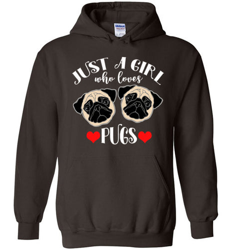 Just a Girl who Loves Pugs Dog Breed Hoodie Sweatshirt